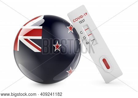 Diagnostic Test For Coronavirus In New Zealand. Antibody Test Covid-19 With New Zealand Flag, 3d Ren