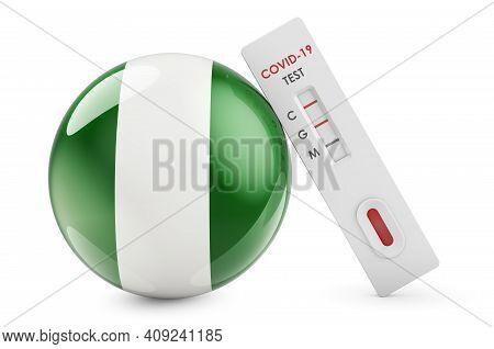 Diagnostic Test For Coronavirus In Nigeria. Antibody Test Covid-19 With Nigerian Flag, 3d Rendering
