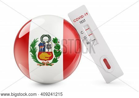 Diagnostic Test For Coronavirus In Peru. Antibody Test Covid-19 With Peruvian Flag, 3d Rendering Iso