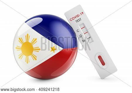Diagnostic Test For Coronavirus In Philippines. Antibody Test Covid-19 With Philippines Flag, 3d Ren