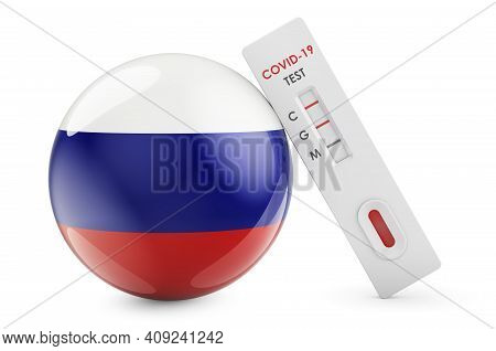 Diagnostic Test For Coronavirus In Russia. Antibody Test Covid-19 With Russian Flag, 3d Rendering Is