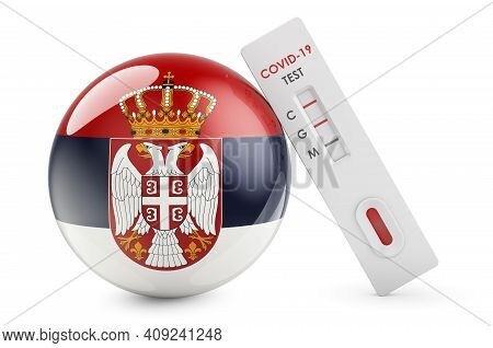 Diagnostic Test For Coronavirus In Serbia. Antibody Test Covid-19 With Serbian Flag, 3d Rendering Is