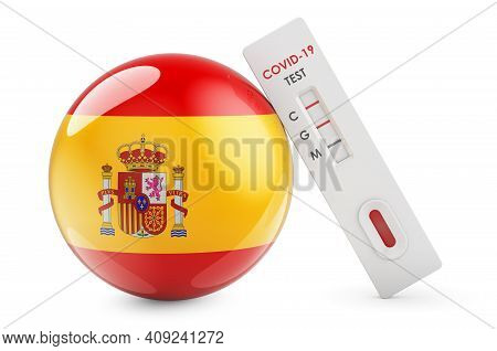 Diagnostic Test For Coronavirus In Spain. Antibody Test Covid-19 With Spanish Flag, 3d Rendering Iso
