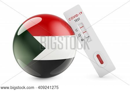 Diagnostic Test For Coronavirus In Sudan. Antibody Test Covid-19 With Sudanese Flag, 3d Rendering Is