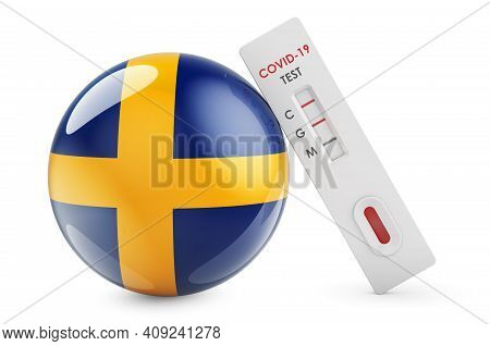 Diagnostic Test For Coronavirus In Sweden. Antibody Test Covid-19 With Swedish Flag, 3d Rendering Is