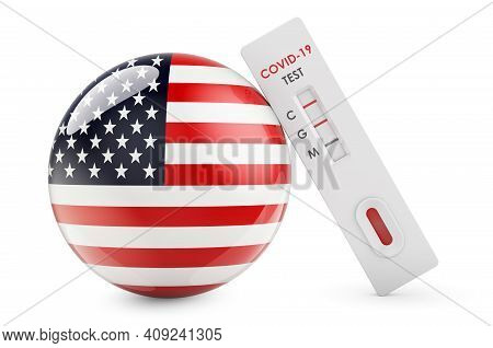 Diagnostic Test For Coronavirus In The United States. Antibody Test Covid-19 With The Usa Flag, 3d R