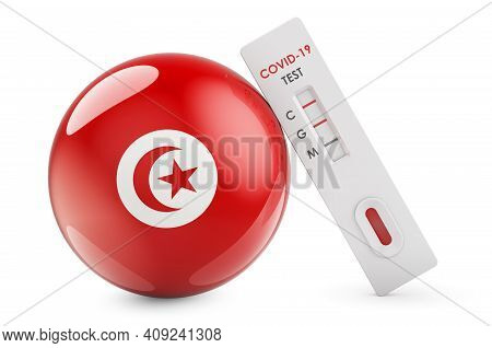 Diagnostic Test For Coronavirus In Tunisia. Antibody Test Covid-19 With Tunisian Flag, 3d Rendering