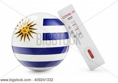 Diagnostic Test For Coronavirus In Uruguay. Antibody Test Covid-19 With Uruguayan Flag, 3d Rendering
