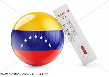 Diagnostic Test For Coronavirus In Venezuela. Antibody Test Covid-19 With Venezuelan Flag, 3d Render