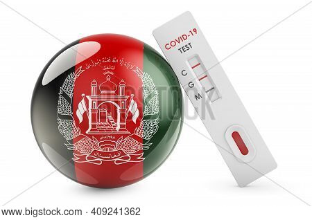 Diagnostic Test For Coronavirus In Afghanistan. Antibody Test Covid-19 With Afghan Flag, 3d Renderin