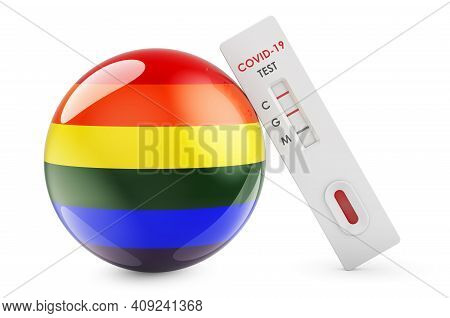 Antibody Test Covid-19 With Lgbt Rainbow Flag, 3d Rendering Isolated On White Background