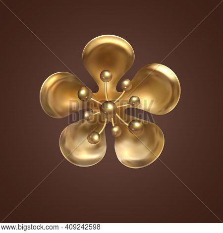 Golden Sakura Flower. Gold Decoration. Decorative Design Element Of Gold Metal Jewelry, Solated Flow