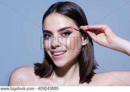 Beautiful Thick Eyebrows, A Vivid Glance. Perfect Eyebrows, Make-up Correction. Beautiful Perfect Ey