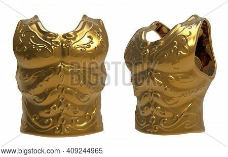 Isolated 3d Render Illustration Of Golden Engraved Ancient Armor Chest Armor On White Background.