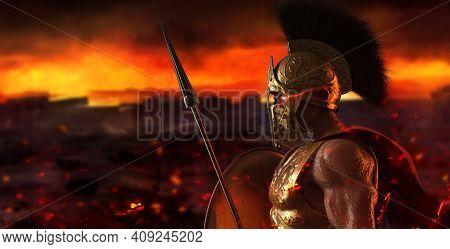 3d Render Illustration Of Spartan King Demigod In Golden Armor And Helmet, Holding Spear And Shield