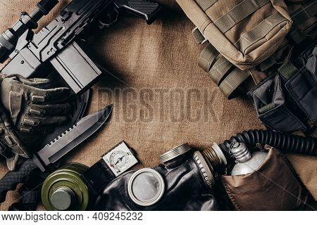 Photo Of Post Apocalyptic Stalker Soldier Ammunition Laying On Table Upper View.