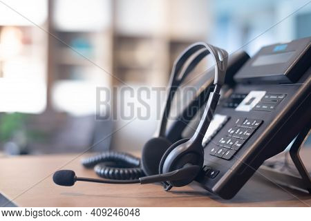 Communication Support, Call Center And Customer Service Help Desk. Voip Headset For Customer Service