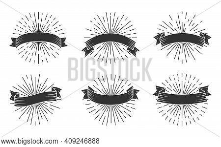 Retro Grunge Black Silhouette Ribbons Set. Glyph Vintage Emblem With Light Rays. Doodle Of Sunburst