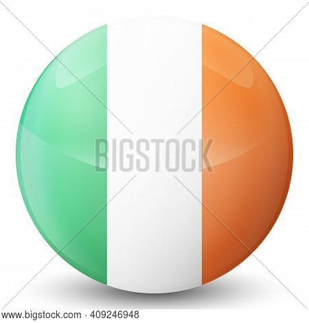 Glass Light Ball With Flag Of Ireland. Round Sphere, Template Icon. Irish National Symbol. Glossy Re