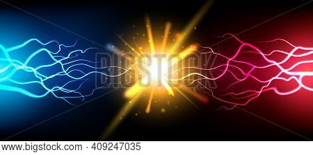 Bright Electric Battle Concept. Abstract Electrical Power Challenge Background, Bright Energy Burst