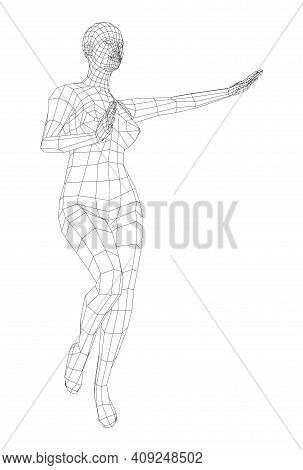 Wireframe Ballerina Or Dancer In Dance Pose. Female Dancing Salsa. Vector 3d Rendering