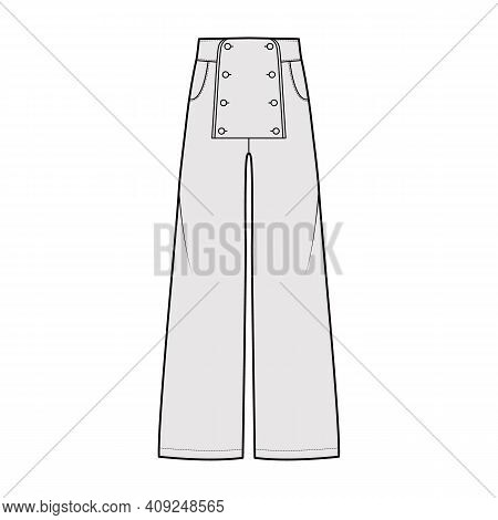 Set Of Pants Sailor Technical Fashion Illustration With Low Waist, Rise, Full Length, Pockets, Front