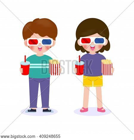 Young Boy And Girl Watching Movie, Happy Couple Going To A Movie Together, Movie And Clapper And Pop