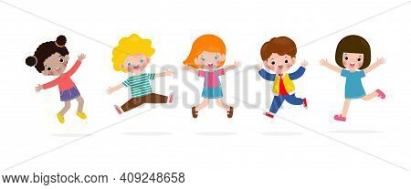 Happy Children Jumping And Dancing On The Park, Kids Activities,  Children Playing In Playground, Te