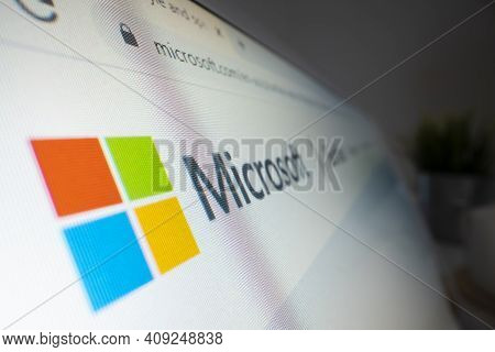 Melbourne, Australia - Feb 17, 2021: Close-up View Of Microsoft Logo On Its Website