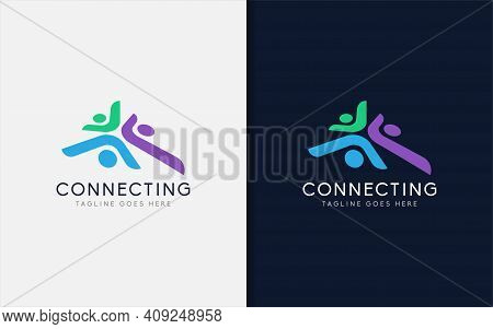 Connecting People Group Logo Design. Abstract Colorful People Shape Combination. Usable For Business