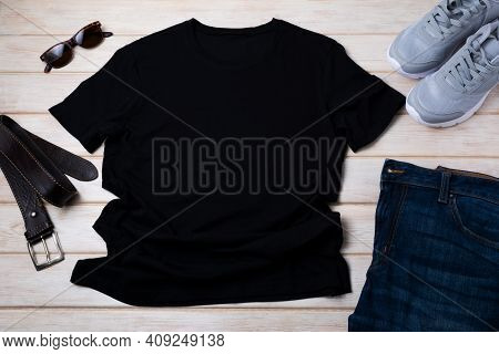 Men's T-shirt Mockup With Running Shoes And Leather Belt