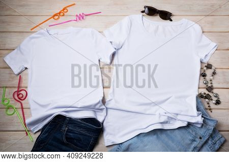 Family Look T-shirt Mockup With Drinking Straws And Jeans