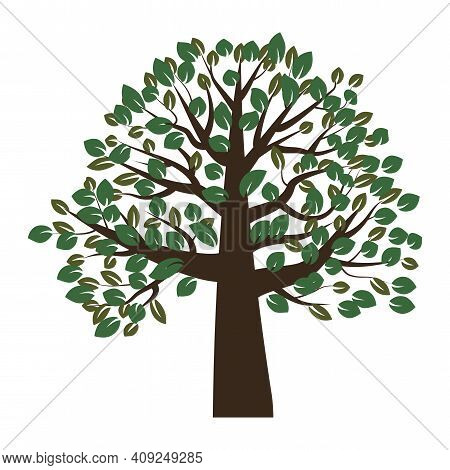 Lush Green Tree In Abstract Style. Nature Background Vector. Nature Art. Stock Image.
