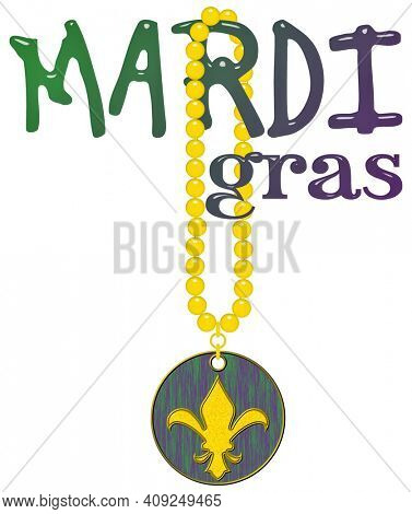 Mardi Grass (Fat Tuesday) Beads and Doubloon (Spanish Coin) with  a Fleur de lis (a stylized lily) Isolated on White with Clipping Path
