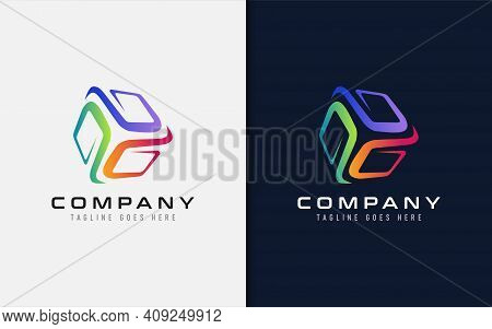 Creative Cube Tech Logo Design. Abstract Cube Shape Build From Colorful Modern Lines. Usable For Bus