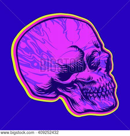 Skull Side Hippie Psychedelic Illustrations For Your Work Logo, Mascot Merchandise T-shirt, Stickers