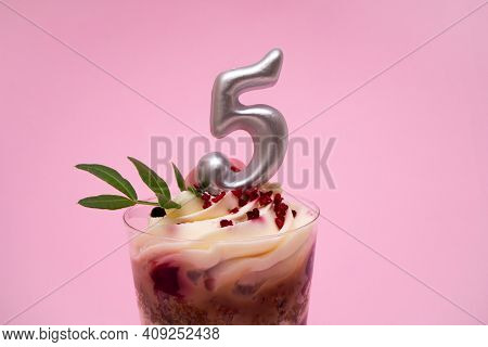 Birthday Trifle Cake With Candle Labeled Number 5 On Pink Background. Portioned Mini Cake.