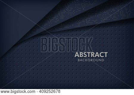 Dark Abstract Background Navy Blue With Black Overlap Layers. Circle Texture With White And Golden G