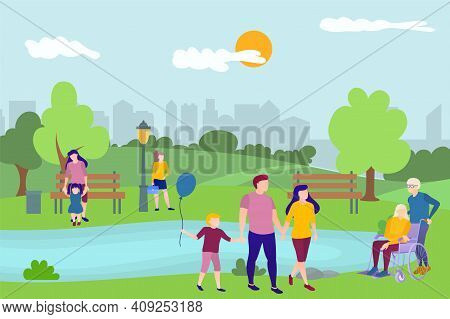 People Relaxing In Nature In Urban Park. Summer Landscape With Parents Walking With Children, Elderl