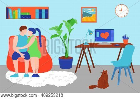 Family Couple Spending Time At Home. Young Man And Woman Sitting On Couch And Embracing. Couple Rela