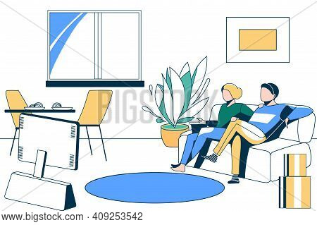 Family Couple Watching Tv At Home. Relaxed Young Man And Woman Sitting On Comfortable Sofa. Family S