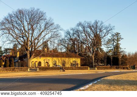 Denver, Colorado - February 19, 2021: Old Home With Beautiful Landscaping Near Cranmer Park In Denve