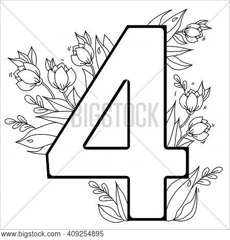 Flower Number Four. Decorative Pattern 4 With Flowers, Tulips, Buds And Leaves. Vector Illustration
