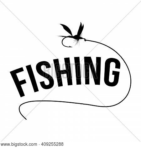 New Concept Of Black Fly Fishing Lure Logo With Letter Design Vector Symbol Graphic
