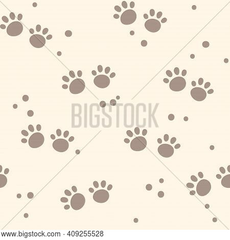 Abstract Kids Seamless Pattern, Dog Or Animals Foot Print Digital Paper, Seamless Background With Cu