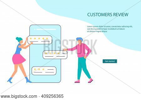 Landing Webpage Template Of Customer Review And Satisfaction Rating. Tiny People With Comment Giving
