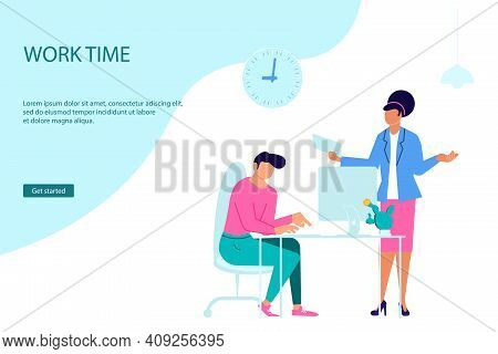 Landing Webpage Template Of Business Characters Working In Office. Colleagues Or Clerks At Workplace