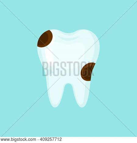 Ill Caries Tooth, Cute Colorful Vector Icon Illustration