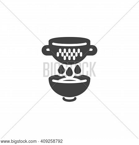 Cooking With Colander Vector Icon. Filled Flat Sign For Mobile Concept And Web Design. Strainer And