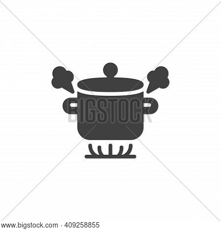Boiling Pot On Gas Stove Vector Icon. Filled Flat Sign For Mobile Concept And Web Design. Boiling Sa